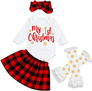Christmas Baby Girl Romper My 1st Christmas Jumpsuit Bodysuit Plaid Skirt +Headband+Sock Sets