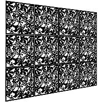 Biombo de 12 paneles, KERNORV PVC divisor habitación separador separación espacios divisoria pared (Negro)