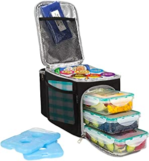 Secura Large Insulated Cooler Lunch Bag w/3 Meal Prep Lunch box Containers + 2 Ice Packs for Men Women Adult, Black