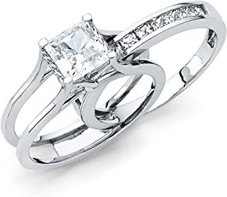 Solid 14k White Gold 2 Ct. Bridal Set Princess Cut Solitaire Engagement Ring with Wedding Band