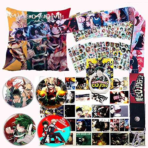 My Hero Academia Pillow Cover Stickers Gift Set - 1 MHA Pillow Case, 12 Stickers, 30 Postcards, 4 Button Pins, 1 Lanyard, 1 Phone Ring Holder for Anime MHA Fans