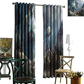 nooweihome Thermal Insulated Blackout Patio Door Curtain Panel Viking,Heroes of Valhalla Nordic Heavy Black Out Window Curtain 84 x L108 inches