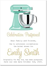 One Dozen Personalized Change The Date Post Poned Wedding Bridal Shower Cards and Envelopes with Watercolor Stand Mixer Ki...