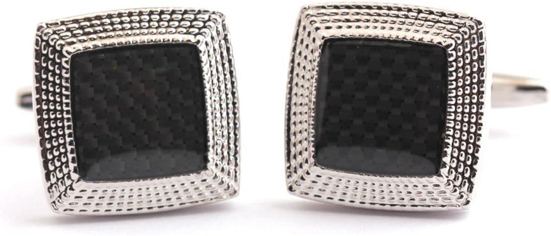 BO LAI DE Cufflinks Square Fiber Cufflinks Men's Shirt Cufflinks Suitable for Business Activities Prom Gift Box, Black
