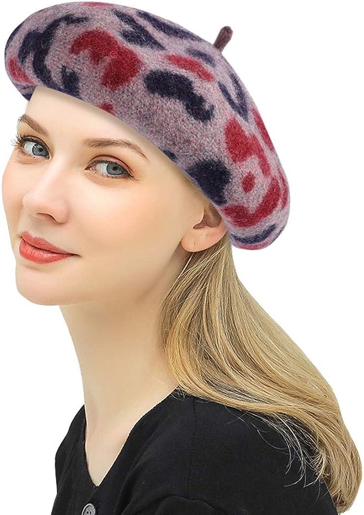 DOCILA Leopard Beret Hats for Women Soft Wool Animal Print Artist Painter Hats Warm French Style Winter Autumn Beanie Cap
