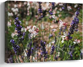 Amymami Wall Art Print Canvas Framed Artwork Home Decor(20x16 in)- Flowers Plant Blue Lavender White Glory Candle