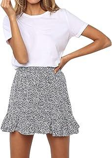 782fcebd0c Lavany Women's Ruffle Skirts,High Waist Above Knee Floral Print Short Skirt  for Girl