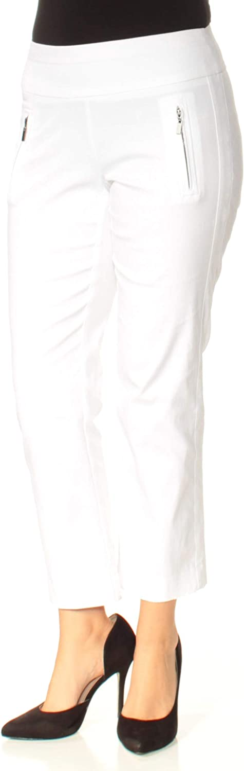 Inc Womens Curvy Fit Pull On Cropped Pants White 4