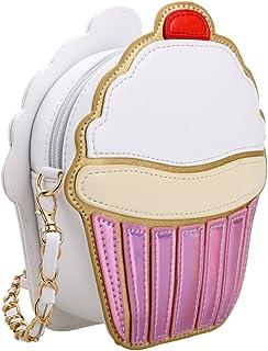 e322e0a64640 Cute Cartoon Women Ice Cream Cupcake Shape Mini Shoulder Bag Metal Chain