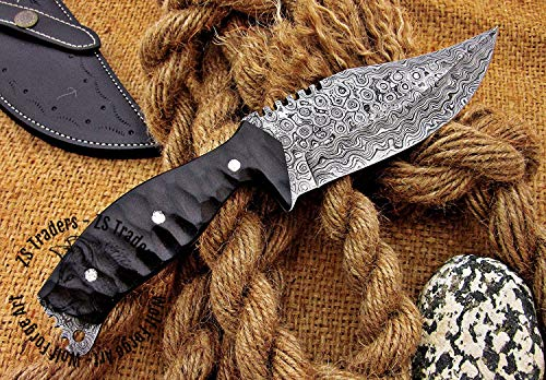 Hand Forged Damascus Raindrop Pattern Collectible Tracker 10.5'' With Beautiful File Work
