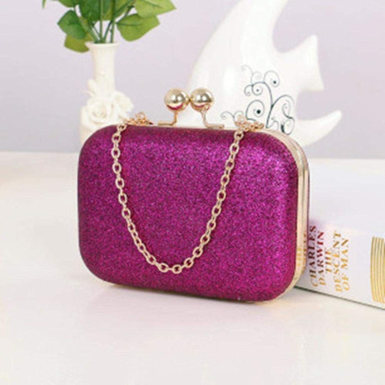 Girls Purse Women's Wallet,Single Shoulder Oblique Lady Clip Chain Wrapped Metal Sequins Hand Grab Bag (color   H)