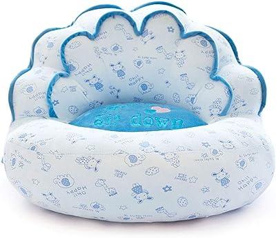 ビーズクッション 子供用クラウンチェアGingham Bule Foam Sofa 付き 子供や大人に最適 疲労を軽減 (色 : 青)