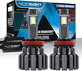 H11/H8/H9 Led Headlight Bulbs, Novsight 80W 12000LM Super Bright Headlamp Conversion Kit,with Automotive Grade LED Chips, High-speed Silent Fan, CANbus-Ready 6000K Xenon White 2-Pack
