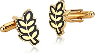 Stainless Steel Gold Black Olive Branch Peace Symbol Cufflinks for Mens Shirt Stud