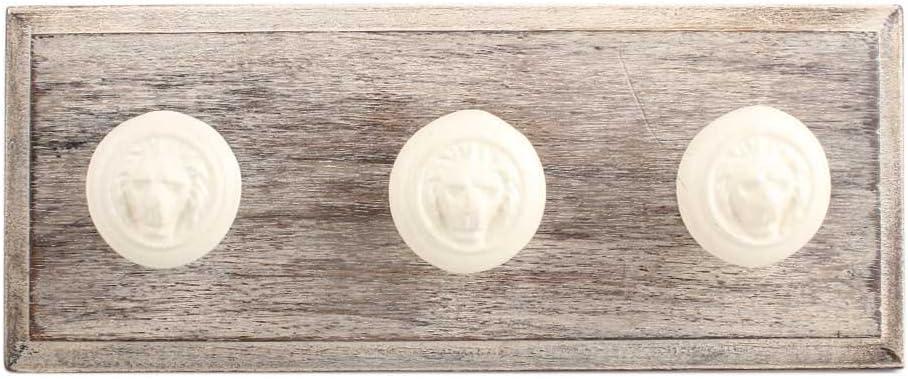 IndianShelf 4 Piece Handmade Cream Wooden Wall Lion Max 63% OFFicial shop OFF Hooks f Coat