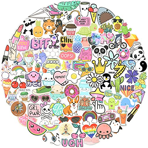 MOWARM Cute Stickers for Water Bottles, 100 PCS Waterproof Aesthetic Vinyl Stickers for Water Bottles Laptop and Computer Skateboard