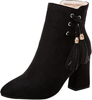 Women's Single Shoes Vintage Suede Pointed Toe Zipper Square Heel Short Ankle Boots