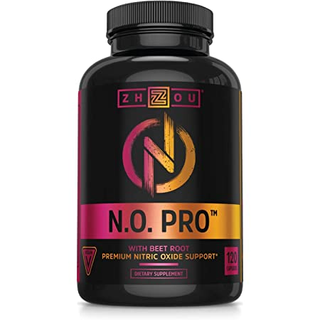 Zhou Nitric Oxide with L Arginine, Citrulline Malate, AAKG and Beet Root | Powerful N.O. Booster and Muscle Builder for Strength, Blood Flow and Endurance | 30 Servings, 120 Veggie Caps