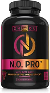 Zhou Nitric Oxide with L Arginine, Citrulline Malate, AAKG and Beet Root | Powerful N.O. Booster and Muscle Builder for St...