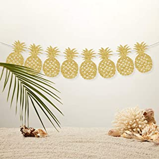 CC HOME Gold Glitter Pineapple Banner Bunting Garland for Christmas,New Year Party.Wedding ,Bridal Shower,Birthday Party,Baby Shower , Luau Party Decorations Tropical Hawaiian Luau Summer Themed Party Supplies