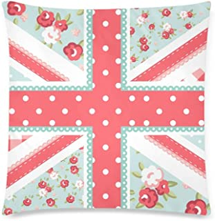 InterestPrint Funny Union Jack British Flag in Shabby Chic Floral Style Cushion Case Protector Pillowcase with Zipper 18x18 Inch, Decorative Pillow Cover Home Decor