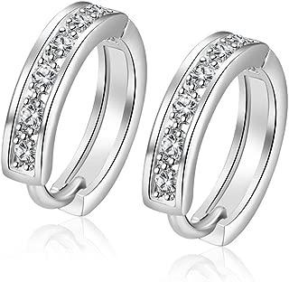 18K White Gold Plated Cubic Zirconia Round Hoop Earrings for Women Teen Girls Silver Earrings Jewelry