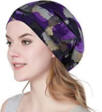 Satin Lined Sleep Cap Slouchy Slap Hat — Soft Elastic Band, Stay All Night