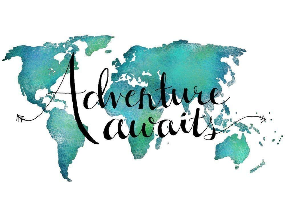 Adventure Awaits Teal World Map Art Print Travel Quote Home Decor 8x10 Inches Unframed (8x10 inches, Teal)