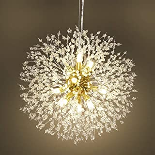 Qamra Modern Crystal Gold Chandeliers, Firework Dandelion...