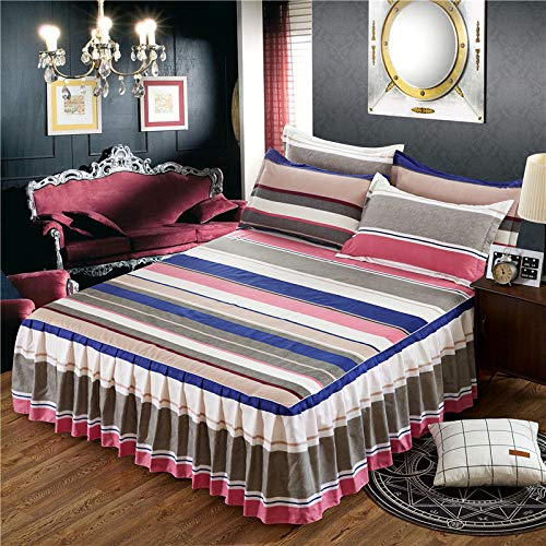 Bettrock Tagesdecke Rüschen Bett Rock Bett Volant Tagesdecke Mit Rüschen Faltenresistent Und Ausbleichen Beständig,S-180x200cm