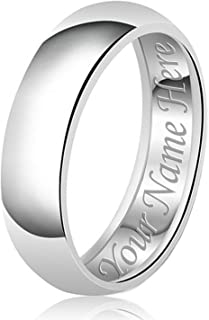8mm Personalized Name Engraving Classic Sterling Silver Plain Wedding Band Ring
