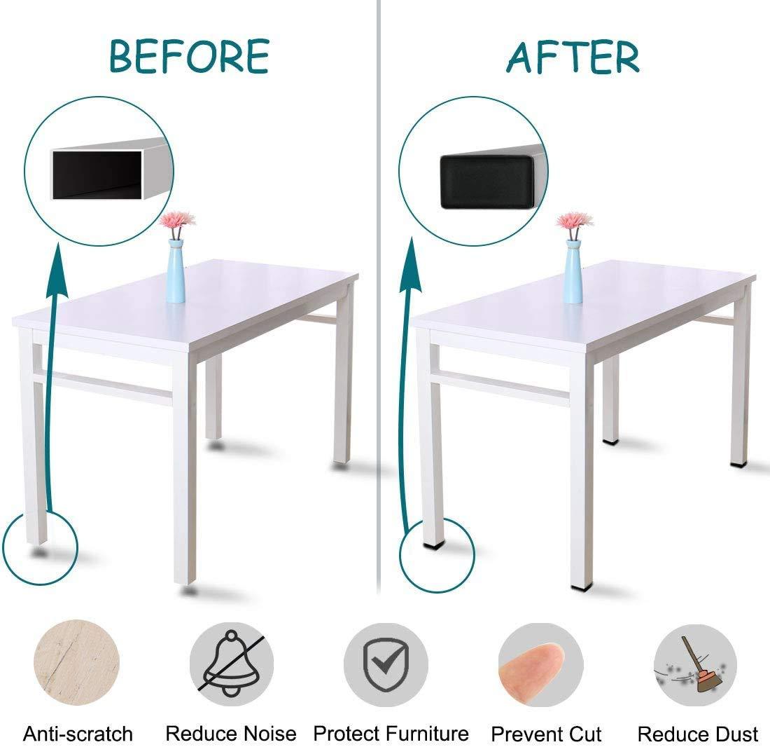 12Pcs Furniture Chair Leg Caps Finishing Plug for Chair Table Stool Leg Fence Post Pipe Rectangle Black Plastic Plug End Cap,1//2x 1 1//2 Rectangular Tube Plug Non-Slip Plastic Tubing End Cap