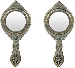 Hand Mirror Pair Round Shape Beautifully Carved in Metal by Handicrafts Paradise