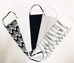 set 5 copri bocca e naso in cotone doppio strato multiuso, fantasie assortite con tasca per filtro, bianco e nero.