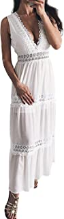 DEEBAI Women's Lace Deep V Neck Sleeveless Boho Long Maxi Summer Beach Dress