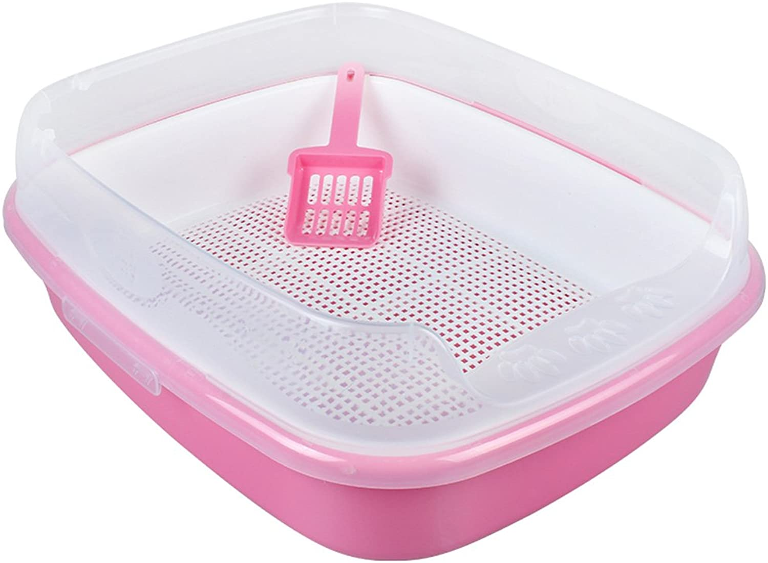 CHONGWFS SemiEnclosed Cat Litter Basin Cat Toilet Spacious Easy to Clean Comes with Cat Litter Scoop Threecolor Optional Cat Supplies (color   Pink, Size   Style B)