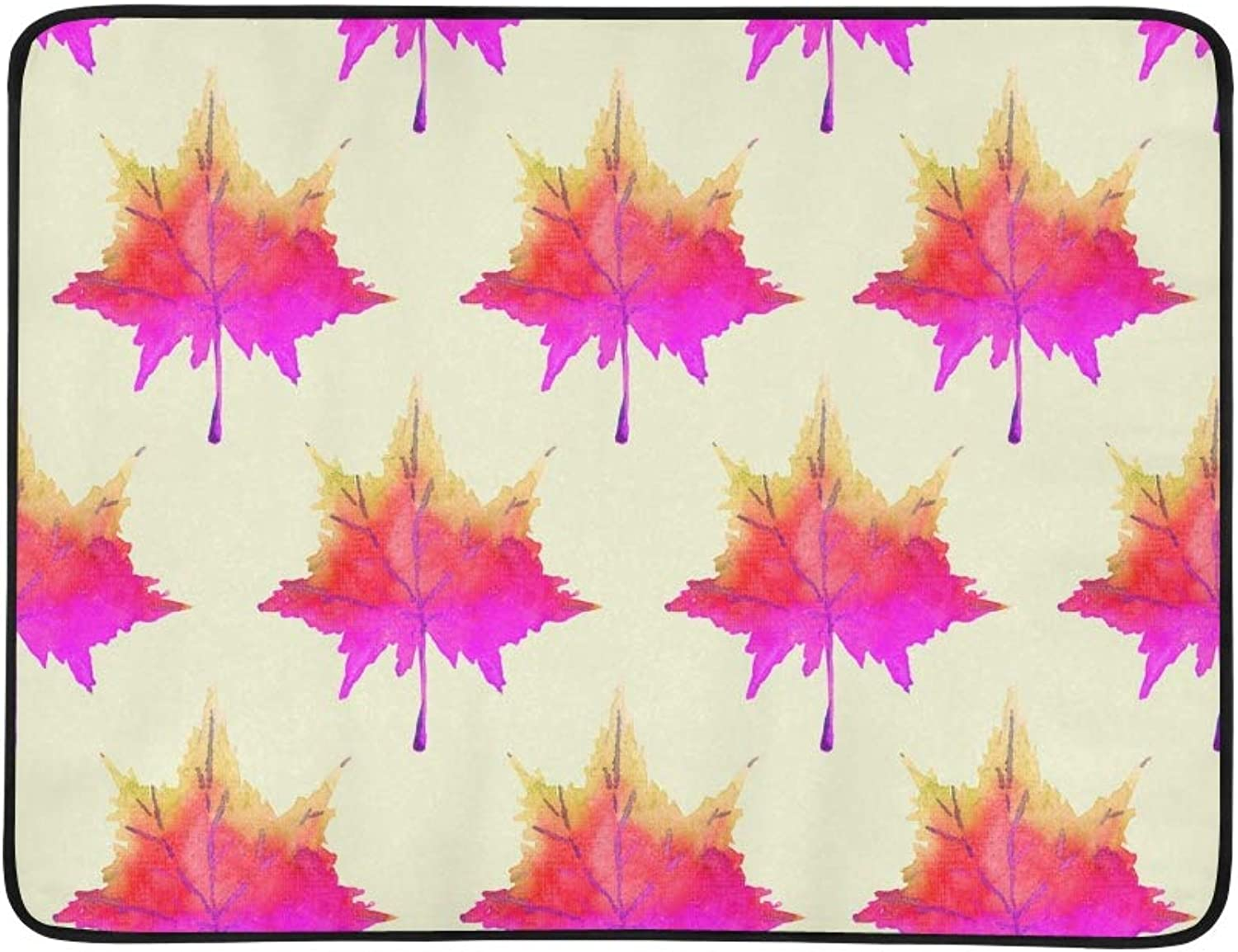 colorful Red Maple Leaves Hand Painted Portable and Foldable Blanket Mat 60x78 Inch Handy Mat for Camping Picnic Beach Indoor Outdoor Travel