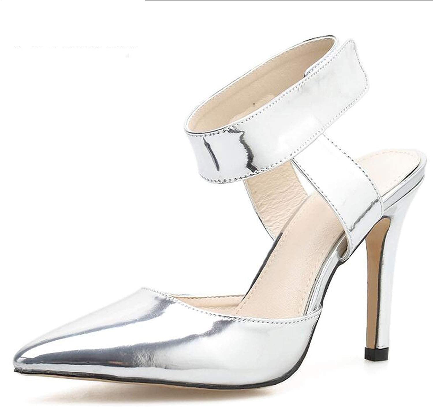 pink flowers Fashion WomenPatent Leather Ankle Strap Buckle Pumps High Heels Pointed Toe Thin Heel Lady shoes