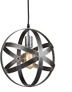 AXILAND Industrial Metal Spherical Antique Silver Pendant Displays Changeable Hanging..