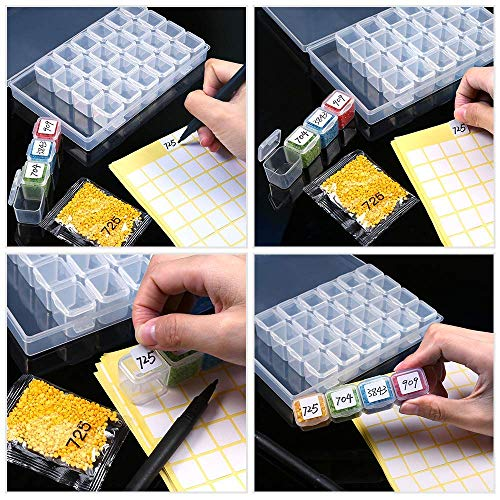 2Pack 28 Slots Diamond Painting Storage Containers Portable Plastic Bead Storage Box with Diamond Painting Tools and Accessories Kit Apply to Full Drill