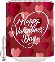 Prironde Polyester Fabric Bathroom Shower Curtain Happy Valentine's Day with 3D Heart Shapes Pink Red Waterproof Curtains, Bathroom Accessories Decor 60x72inch