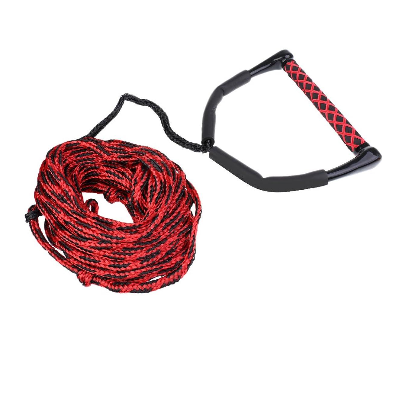 食事しみ意味のあるGRALARAハンドルグリップ付き スキー ウェイクボード ロープ リーシュコード 耐摩耗 23m 全3色 - ブラック、レッド