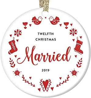 Milestone 12 Years Together Anniversary Christmas Ornament 2019 Unique Dated Couples Gifts Handcrafted Holiday Home Decor Beautiful Floral Snowflake Hanging Folk Art Parents Keepsake Ceramic Circle 3