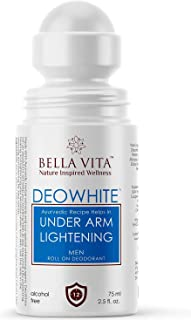 Bella Vita Organic Deo White Deodorant for Men Natural Roll On Under Arm Skin Whitening & Lightening For Boys, 75 ml