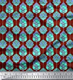 Soimoi Rot Poly Krepp Stoff marokkanisch Damast Stoff
