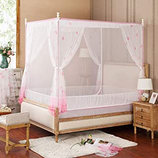 YliK Princess 4 Corners Post Bed Curtain Canopy Netting,Pink