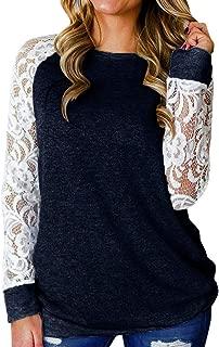 Kauneus Women's Fashion Lace Patchwork Long Sleeve Casual Tunics Blouse O-Neck Solid Oversized Tops