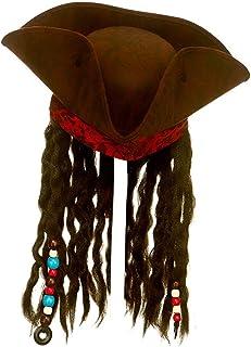 Wicked Costumes Sombrero Pirata marrón Super Deluxe de Unisex para Adultos con Trenzas y Accesorios adjuntos Accesorios para Disfraces