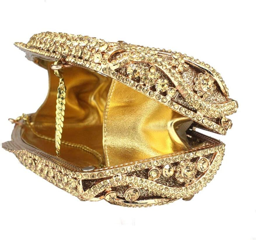 HQQ Diamant Dîner Sac Banquet Bag Robe De Mariée Clutch Pochette (Color : Gold) Gold