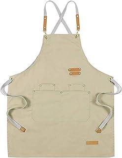 Tongliang Delantal de Cocina Ajustable Delantal de Trabajo con Bolsillos para Hornear Jardinería Restaurante Barbacoa para...